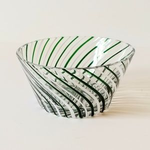Striped Candy Dish Eastern Glass Serving Bowl